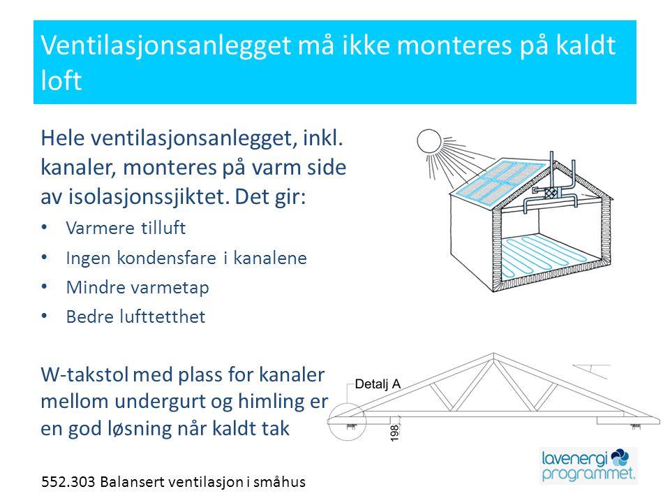 Ventilasjonsanlegget må ikke monteres på kaldt loft
