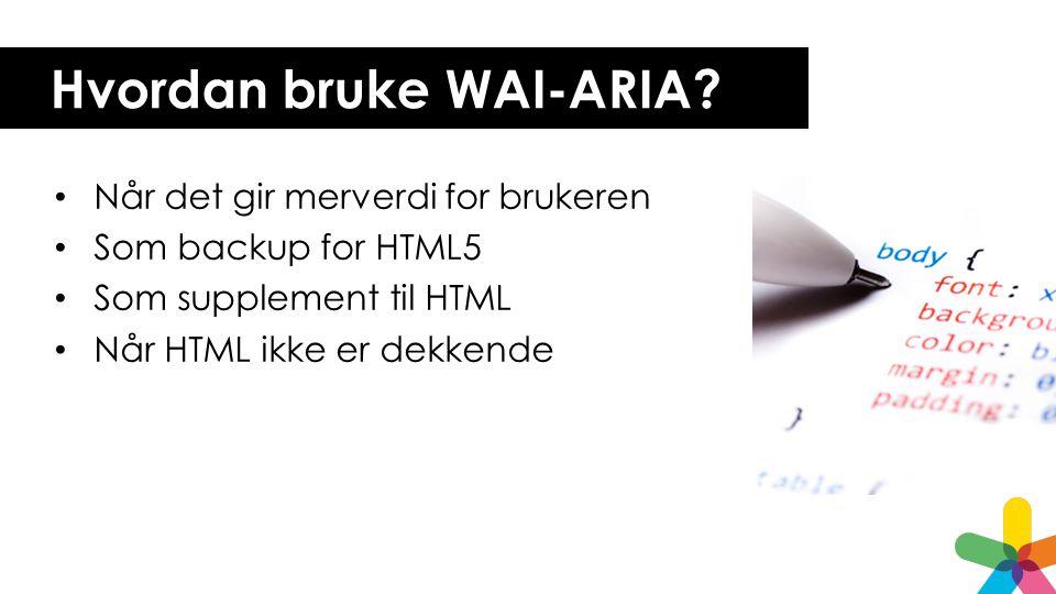 Hvordan bruke WAI-ARIA