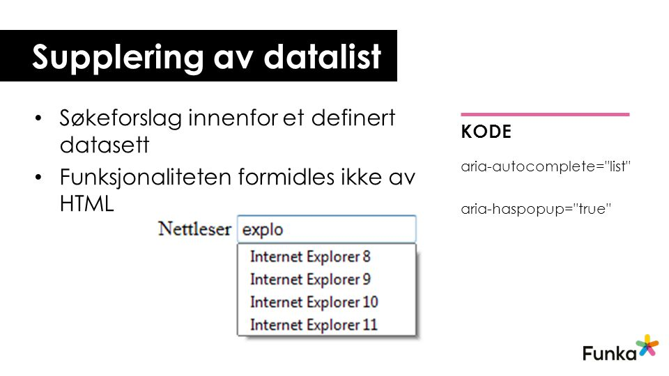 Supplering av datalist