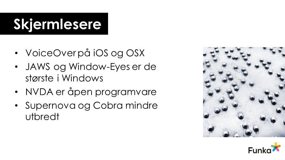 Skjermlesere VoiceOver på iOS og OSX