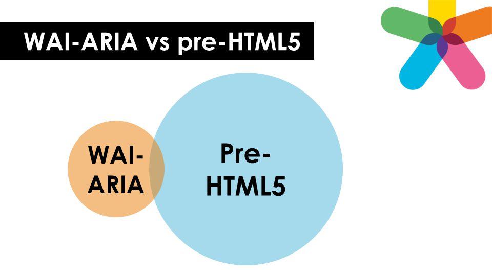 WAI-ARIA vs pre-HTML5 Pre-HTML5 WAI-ARIA