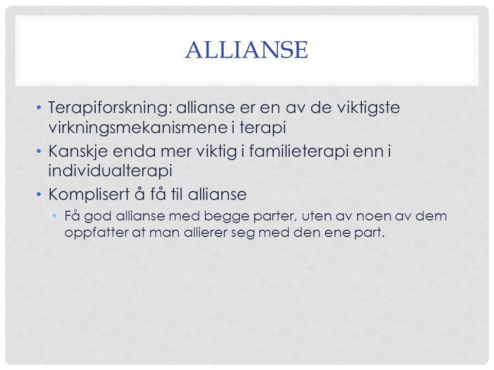 allianse Terapiforskning: allianse er en av de viktigste virkningsmekanismene i terapi.