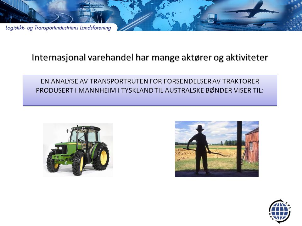 Internasjonal varehandel har mange aktører og aktiviteter