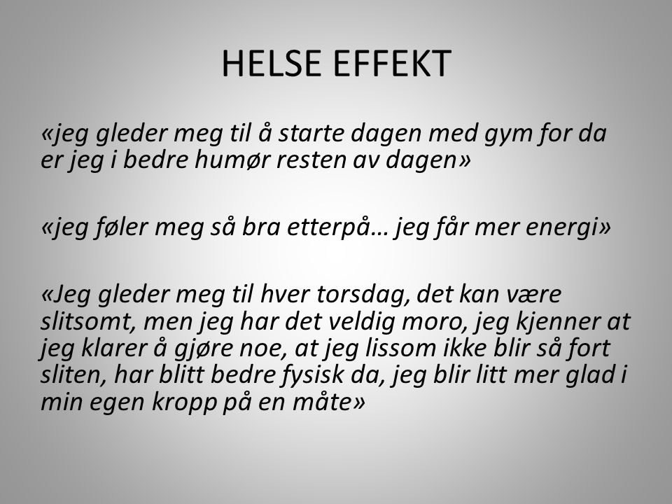 HELSE EFFEKT