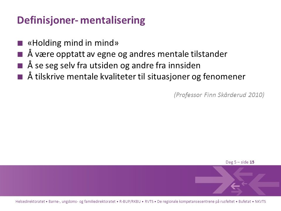 Definisjoner- mentalisering