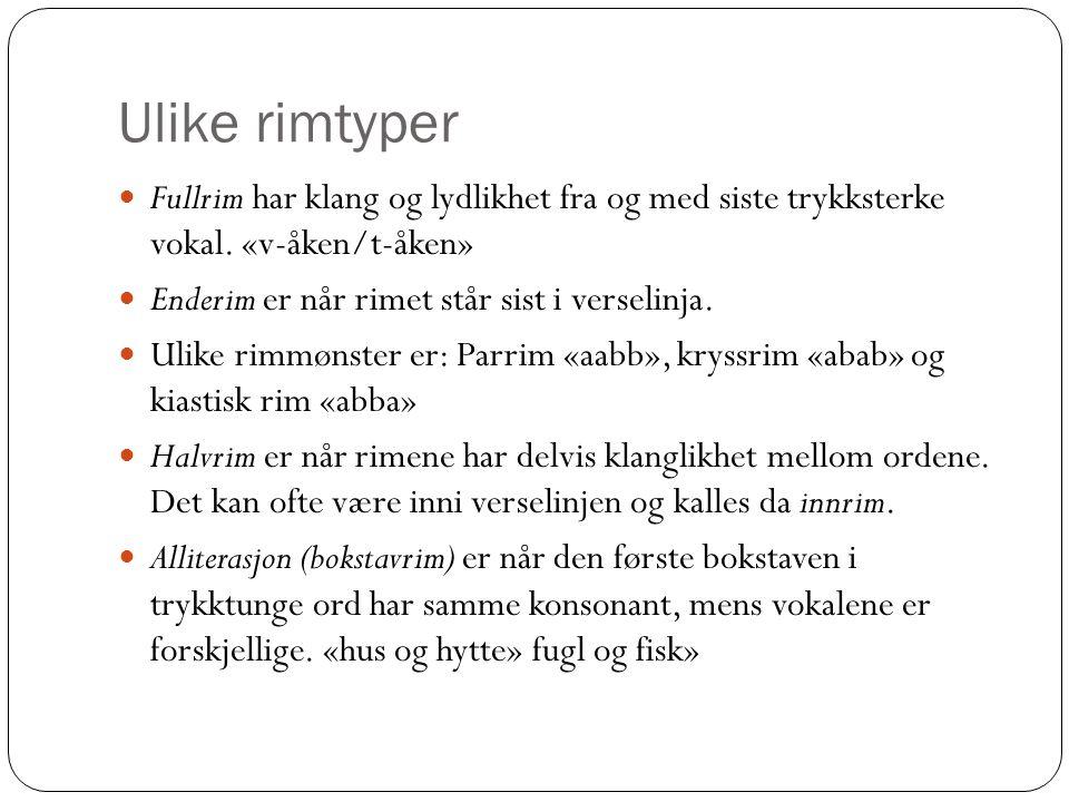 Ulike rimtyper Fullrim har klang og lydlikhet fra og med siste trykksterke vokal. «v-åken/t-åken» Enderim er når rimet står sist i verselinja.