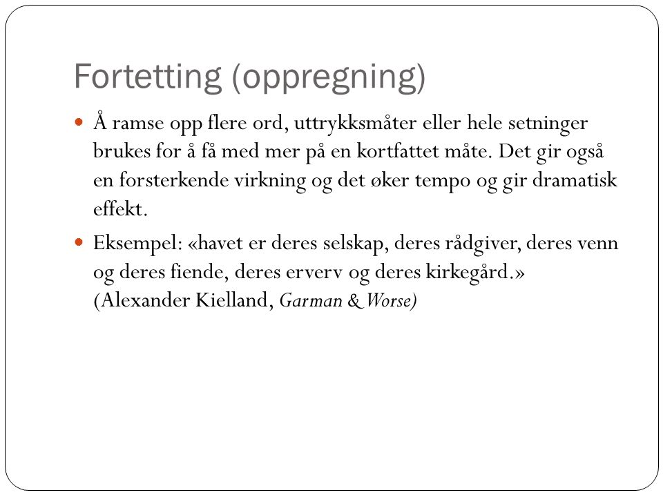 Fortetting (oppregning)