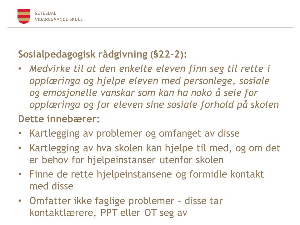 Sosialpedagogisk rådgivning (§22-2):