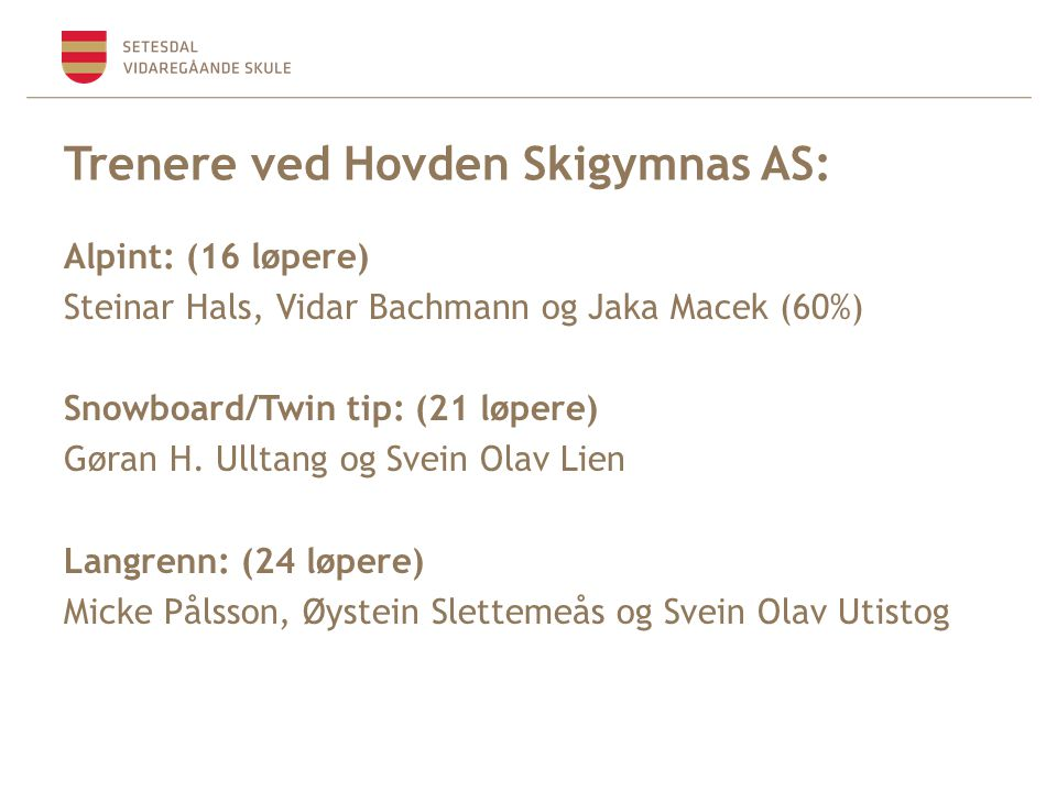 Trenere ved Hovden Skigymnas AS: