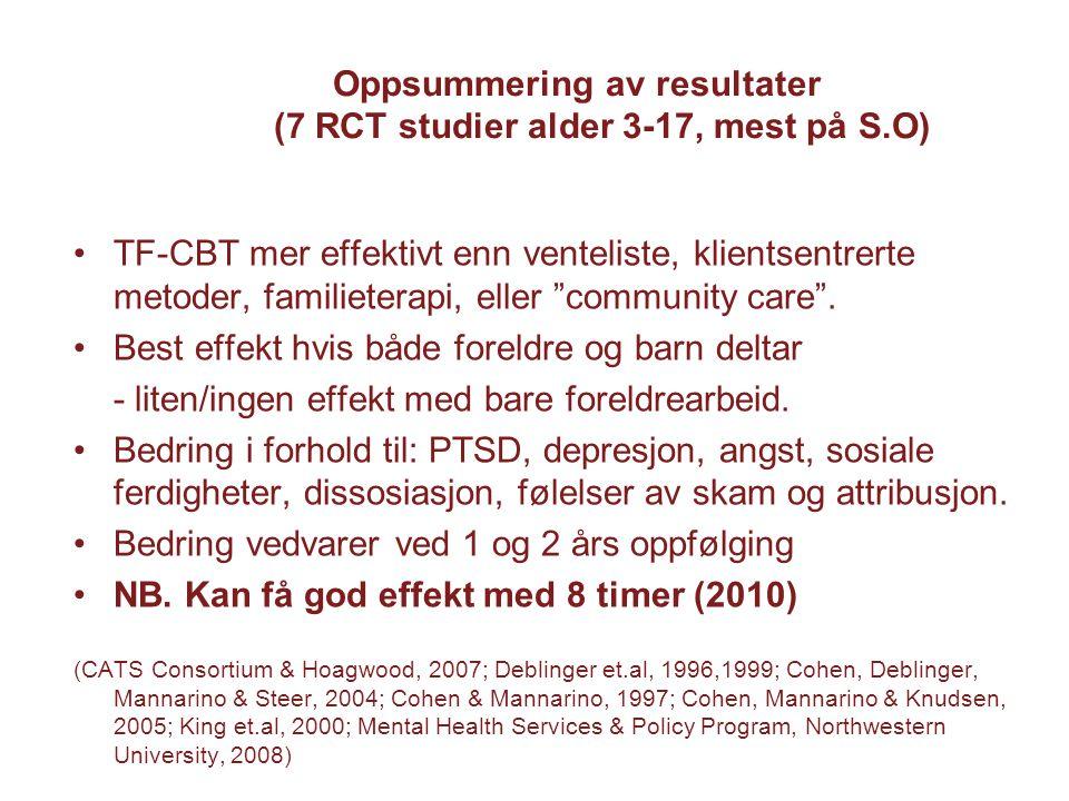 Oppsummering av resultater (7 RCT studier alder 3-17, mest på S.O)