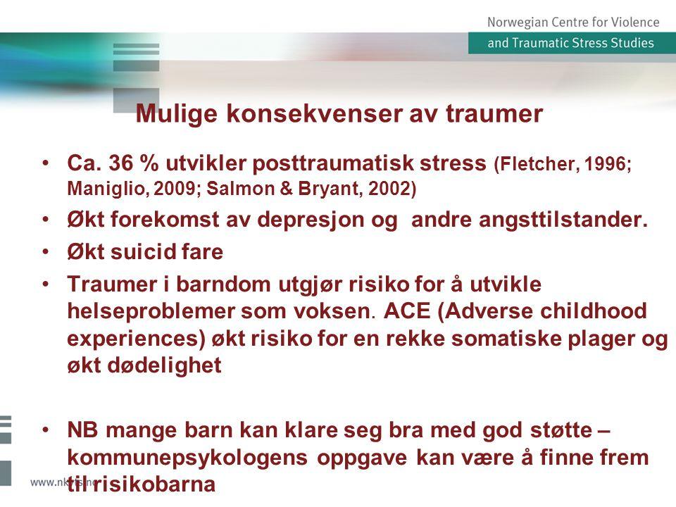 Mulige konsekvenser av traumer