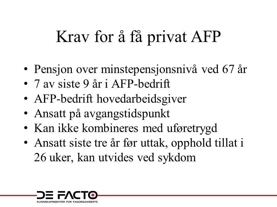 Krav for å få privat AFP Pensjon over minstepensjonsnivå ved 67 år