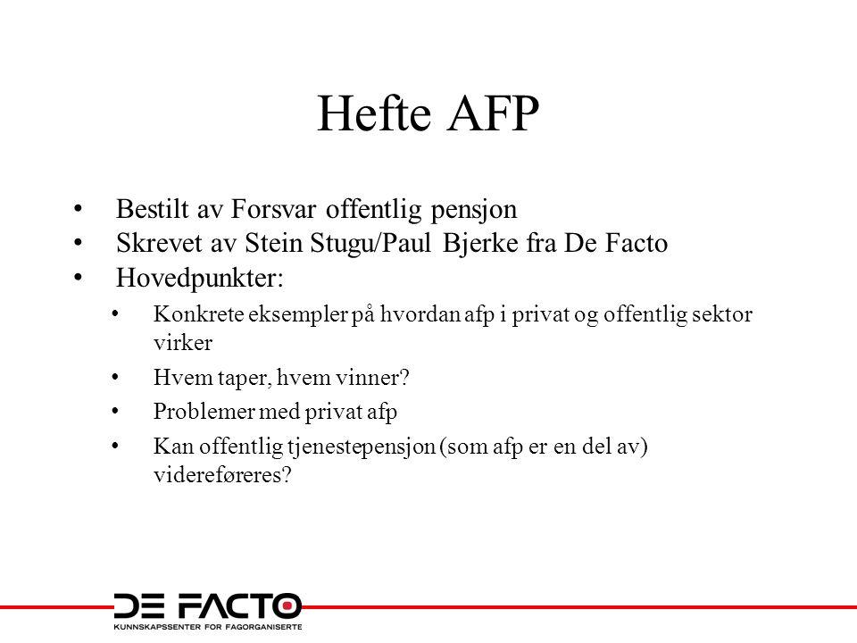 Hefte AFP Bestilt av Forsvar offentlig pensjon