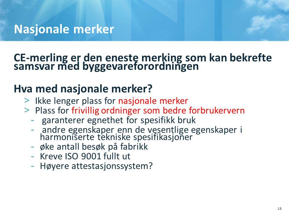, Sted, tema 10.10.2011. Nasjonale merker. CE-merling er den eneste merking som kan bekrefte samsvar med byggevareforordningen.