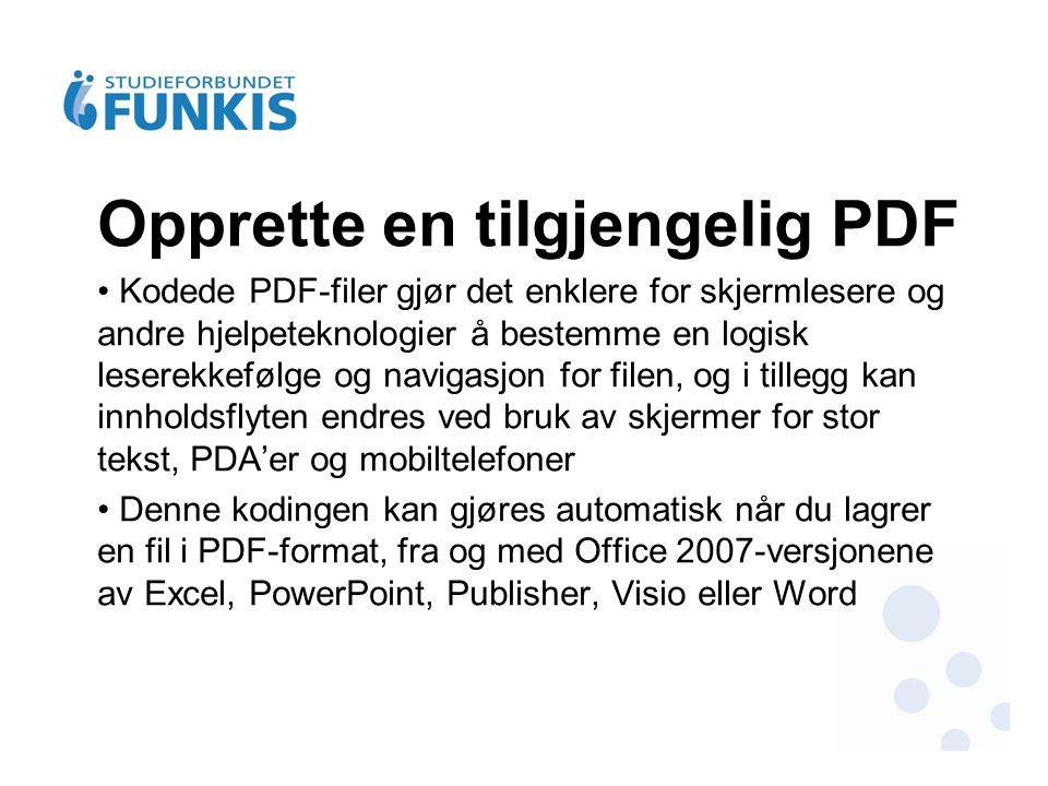Opprette en tilgjengelig PDF