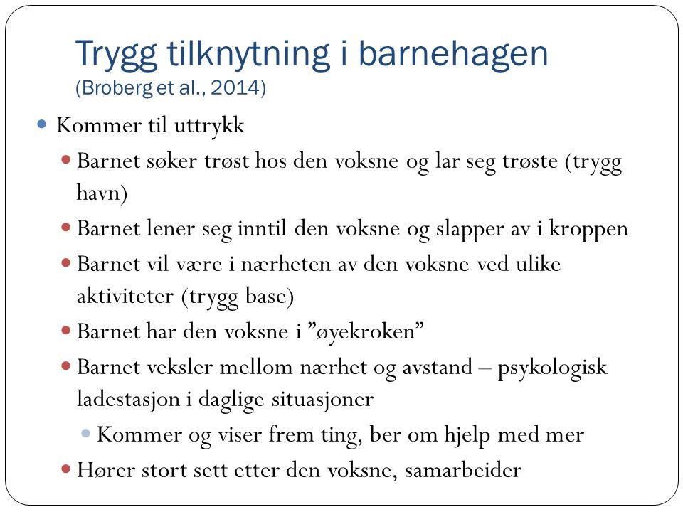 Trygg tilknytning i barnehagen (Broberg et al., 2014)