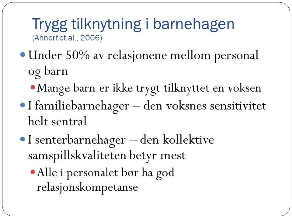 Trygg tilknytning i barnehagen (Ahnert et al., 2006)