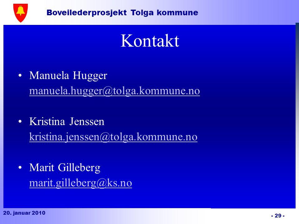 Kontakt Manuela Hugger manuela.hugger@tolga.kommune.no