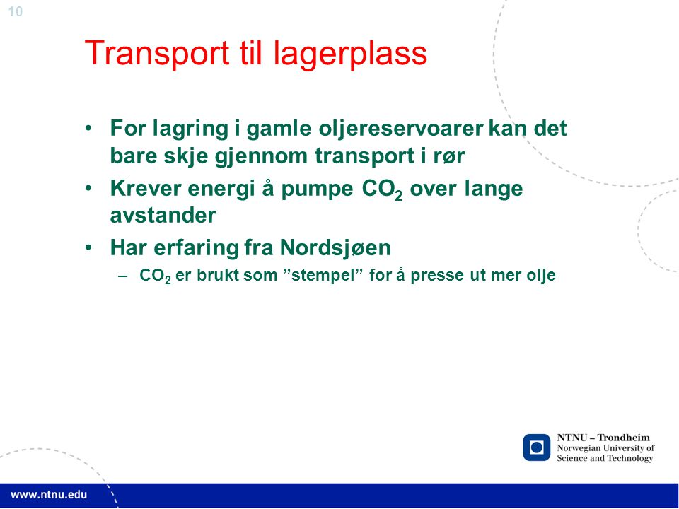 Transport til lagerplass