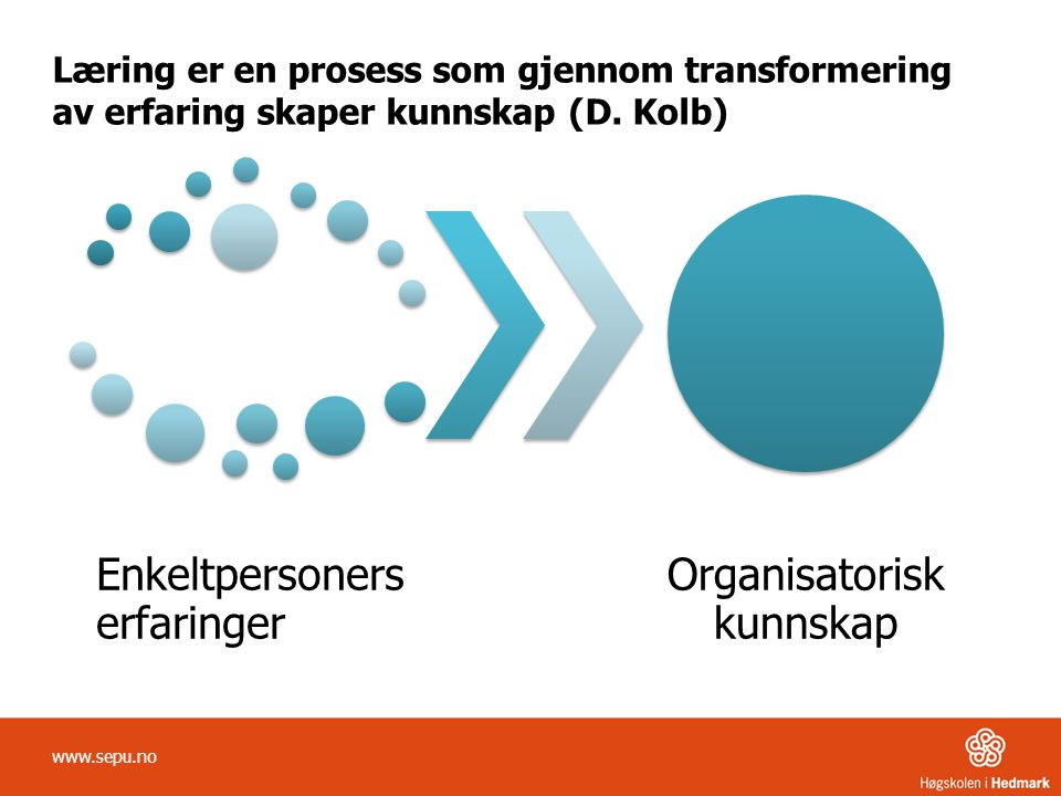Læring er en prosess som gjennom transformering av erfaring skaper kunnskap (D. Kolb)