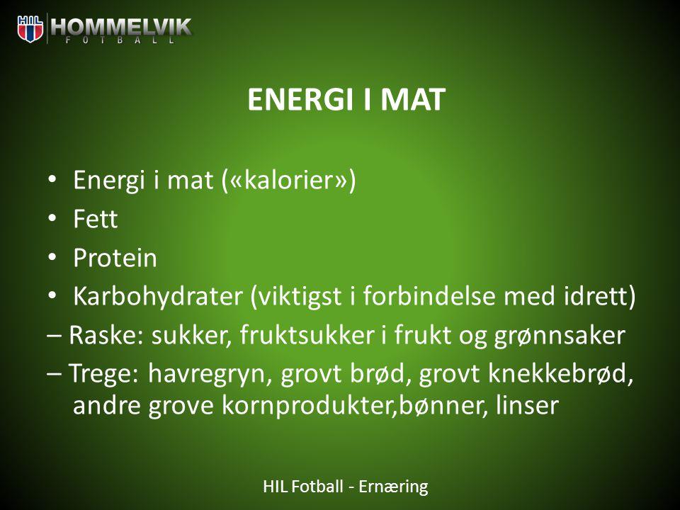 ENERGI I MAT Energi i mat («kalorier») Fett Protein