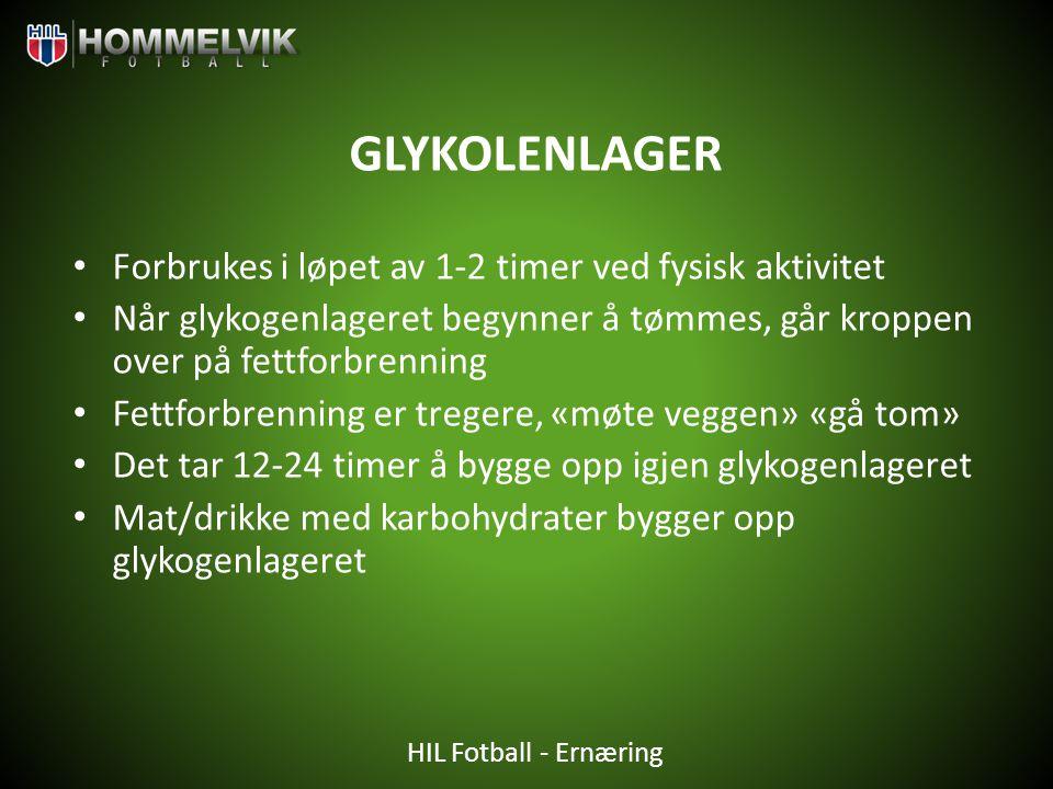 GLYKOLENLAGER Forbrukes i løpet av 1-2 timer ved fysisk aktivitet