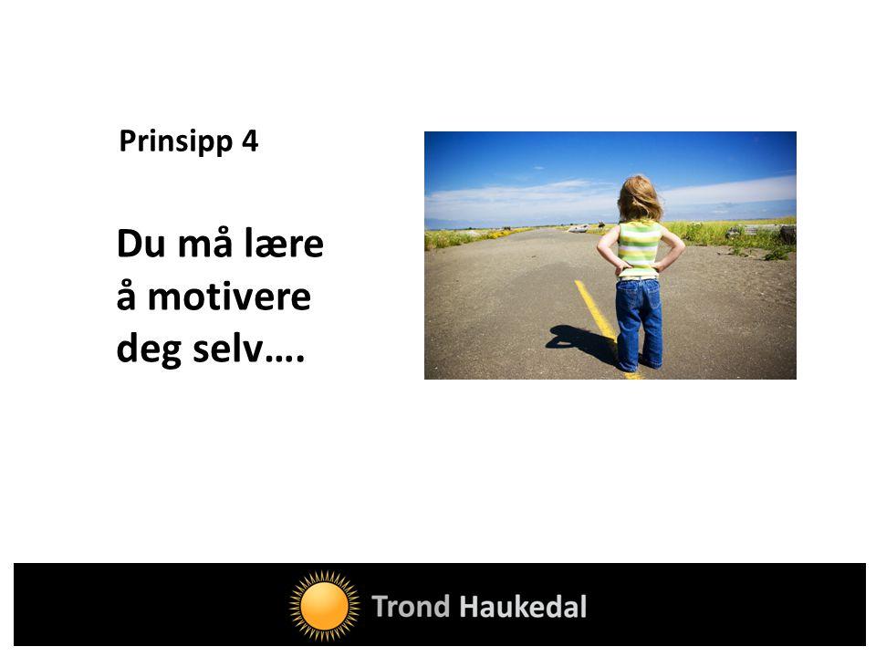 Prinsipp 4 Du må lære å motivere deg selv….