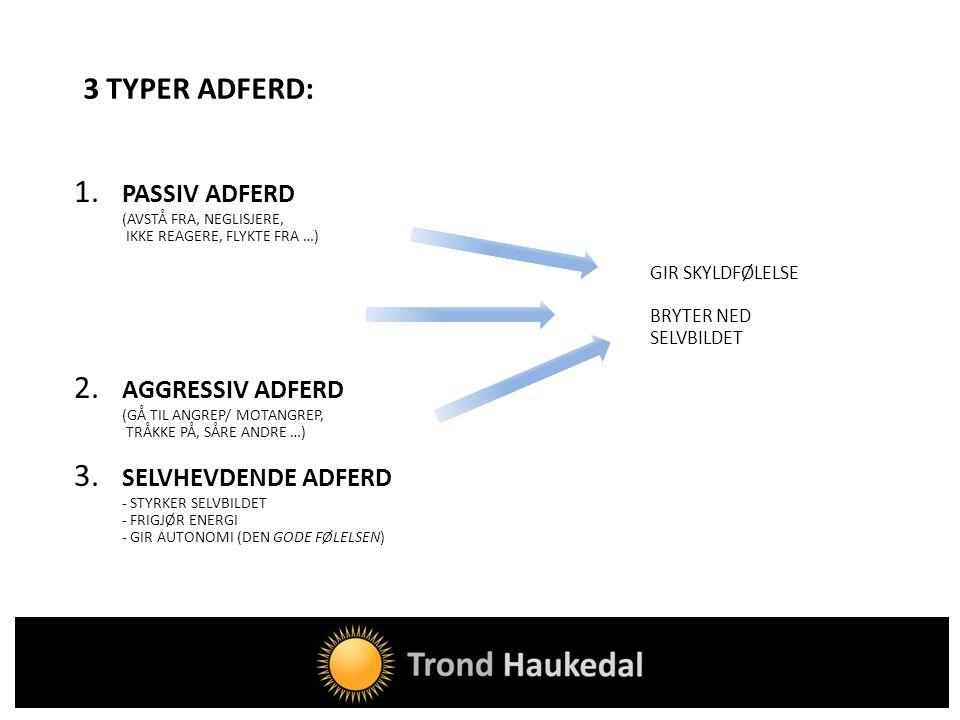 1. PASSIV ADFERD 2. AGGRESSIV ADFERD 3. SELVHEVDENDE ADFERD