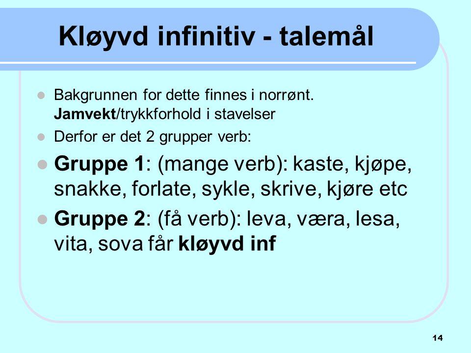 Kløyvd infinitiv - talemål
