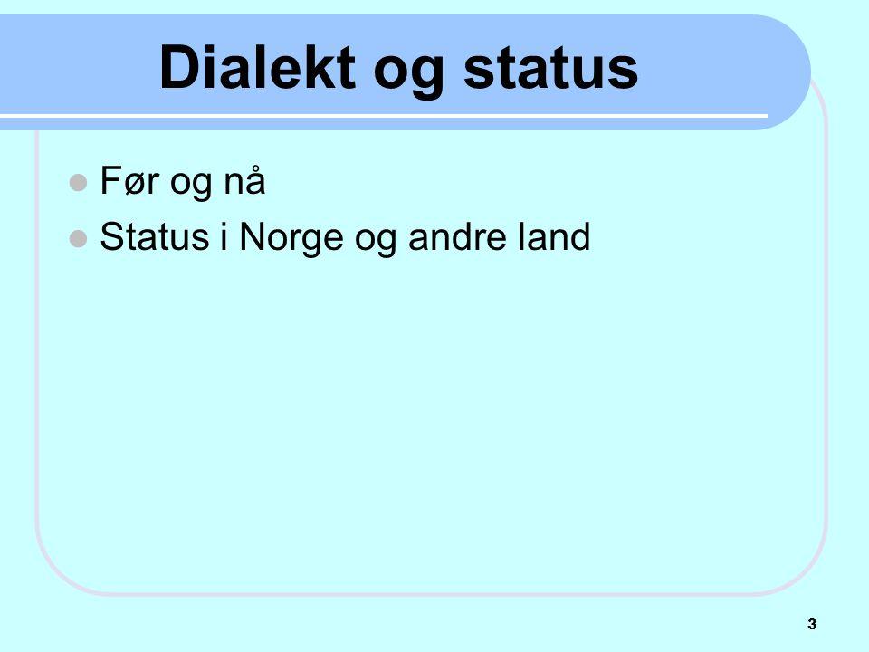 Dialekt og status Før og nå Status i Norge og andre land