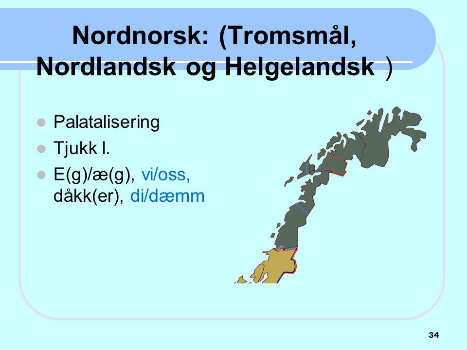 Nordnorsk: (Tromsmål, Nordlandsk og Helgelandsk )