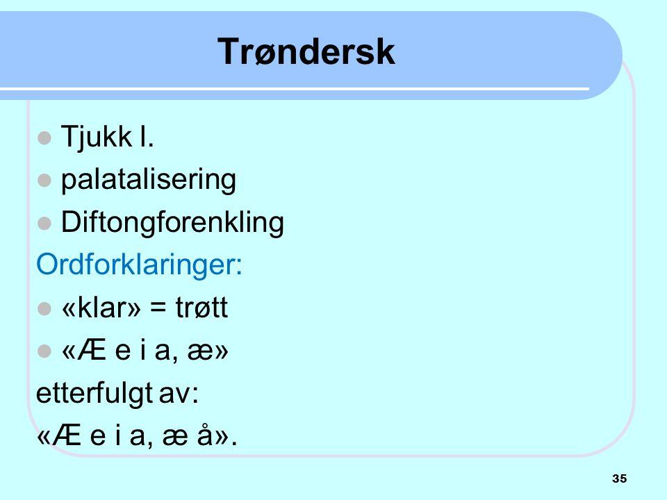 Trøndersk Tjukk l. palatalisering Diftongforenkling Ordforklaringer:
