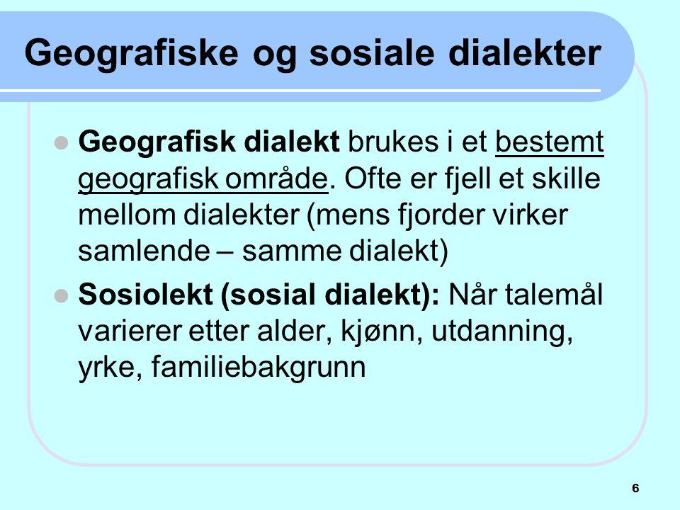Geografiske og sosiale dialekter