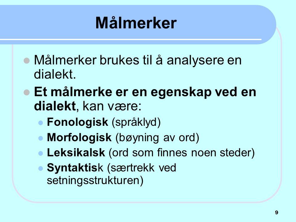 Målmerker Målmerker brukes til å analysere en dialekt.