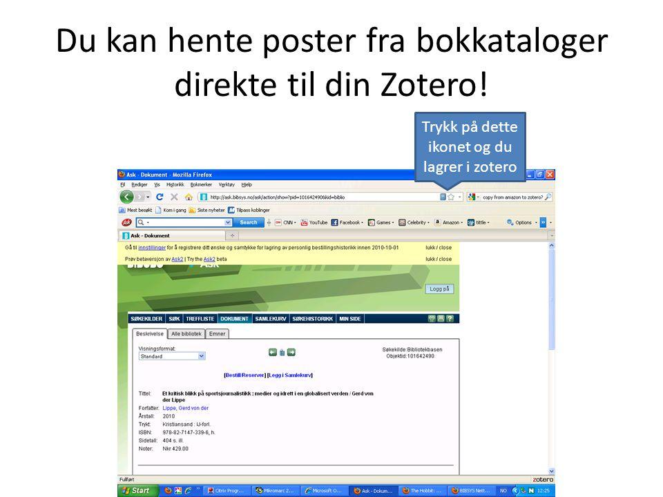 Du kan hente poster fra bokkataloger direkte til din Zotero!