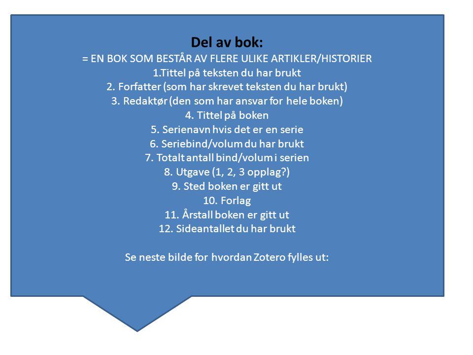 Del av bok: = EN BOK SOM BESTÅR AV FLERE ULIKE ARTIKLER/HISTORIER