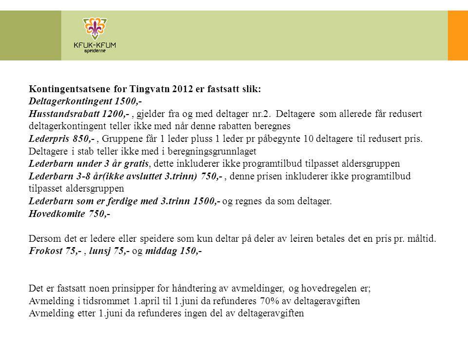 Kontingentsatsene for Tingvatn 2012 er fastsatt slik: