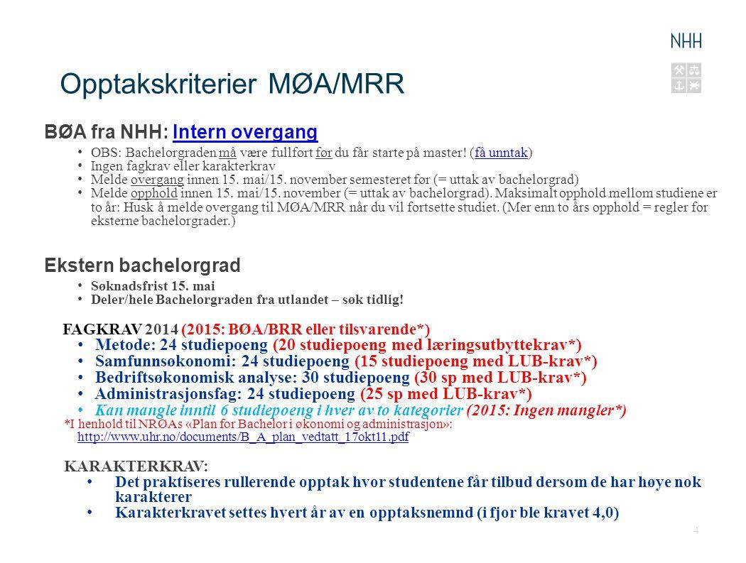 Opptakskriterier MØA/MRR