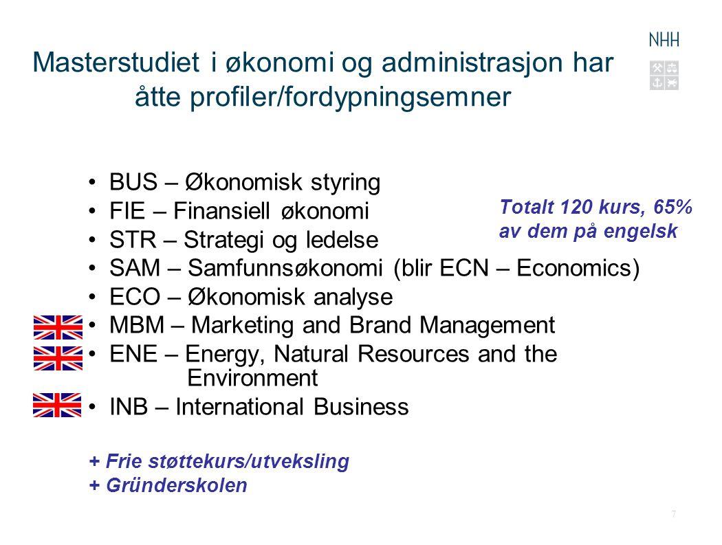 Masterstudiet i økonomi og administrasjon har åtte profiler/fordypningsemner