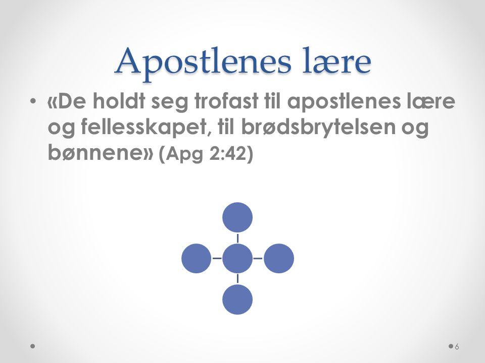 Apostlenes lære «De holdt seg trofast til apostlenes lære og fellesskapet, til brødsbrytelsen og bønnene» (Apg 2:42)