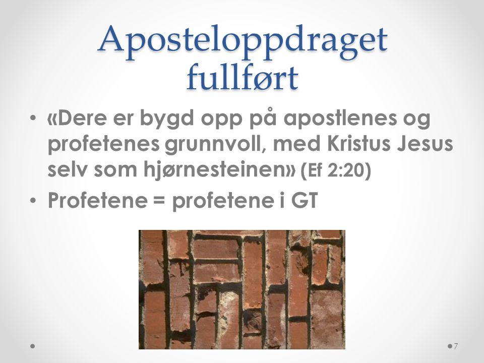 Aposteloppdraget fullført
