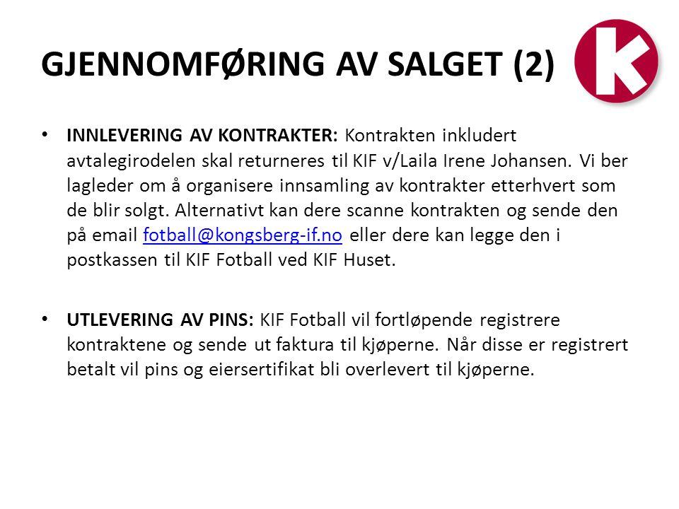 GJENNOMFØRING AV SALGET (2)