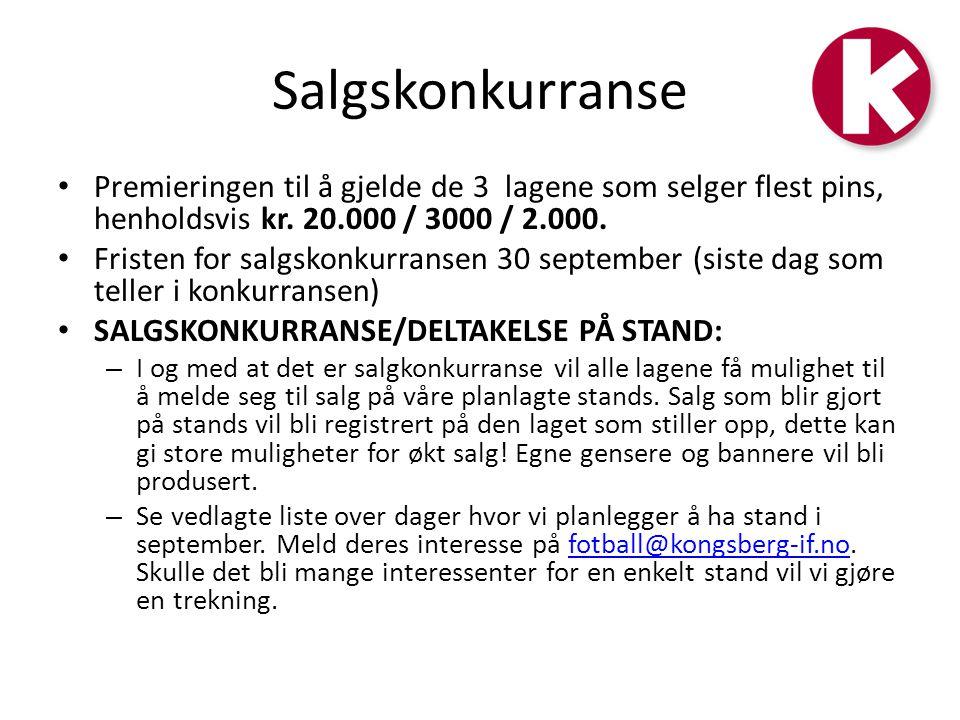 Salgskonkurranse Premieringen til å gjelde de 3 lagene som selger flest pins, henholdsvis kr. 20.000 / 3000 / 2.000.