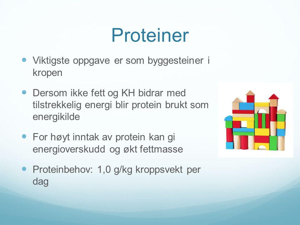 Proteiner Viktigste oppgave er som byggesteiner i kropen
