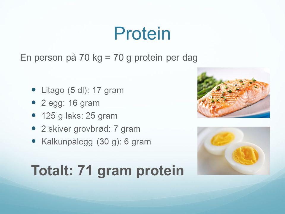 Protein Totalt: 71 gram protein