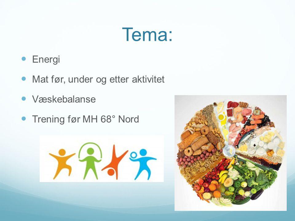 Tema: Energi Mat før, under og etter aktivitet Væskebalanse