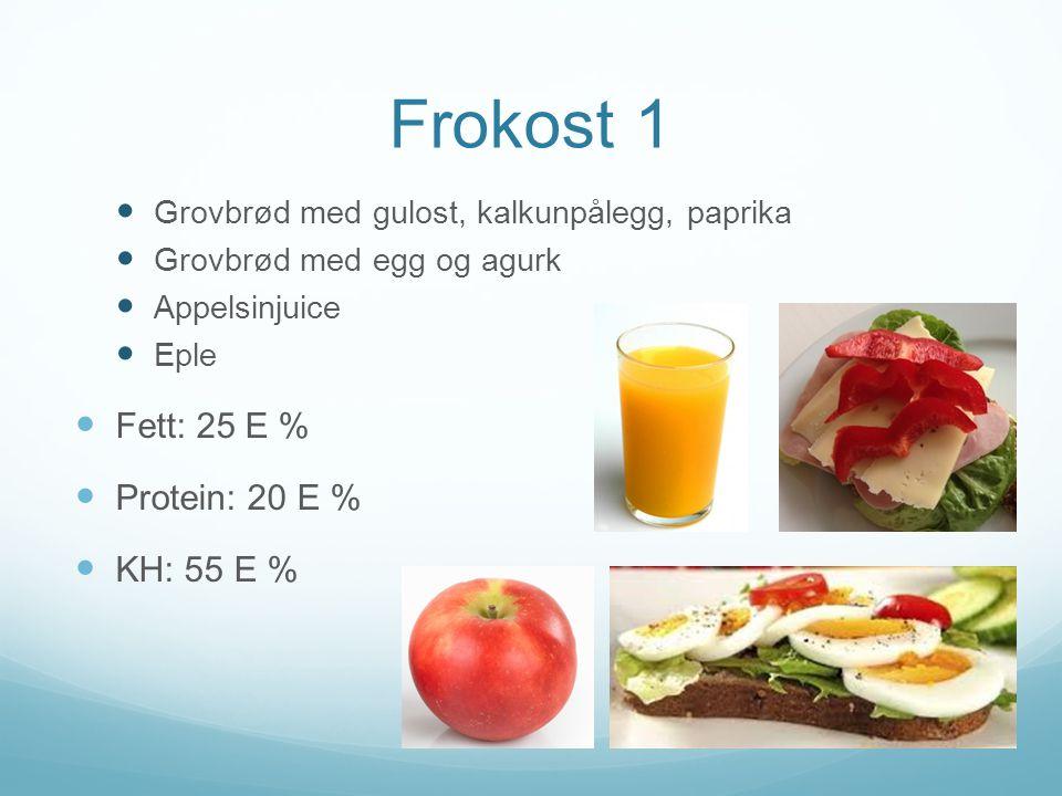 Frokost 1 Fett: 25 E % Protein: 20 E % KH: 55 E %