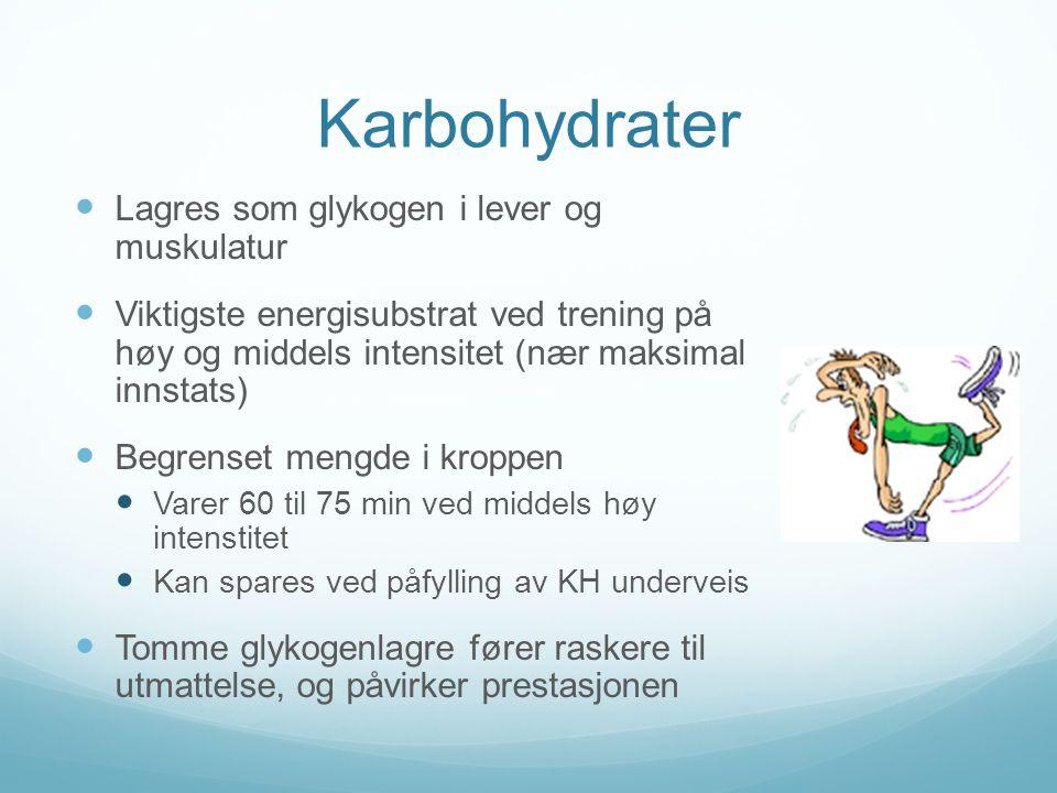 Karbohydrater Lagres som glykogen i lever og muskulatur