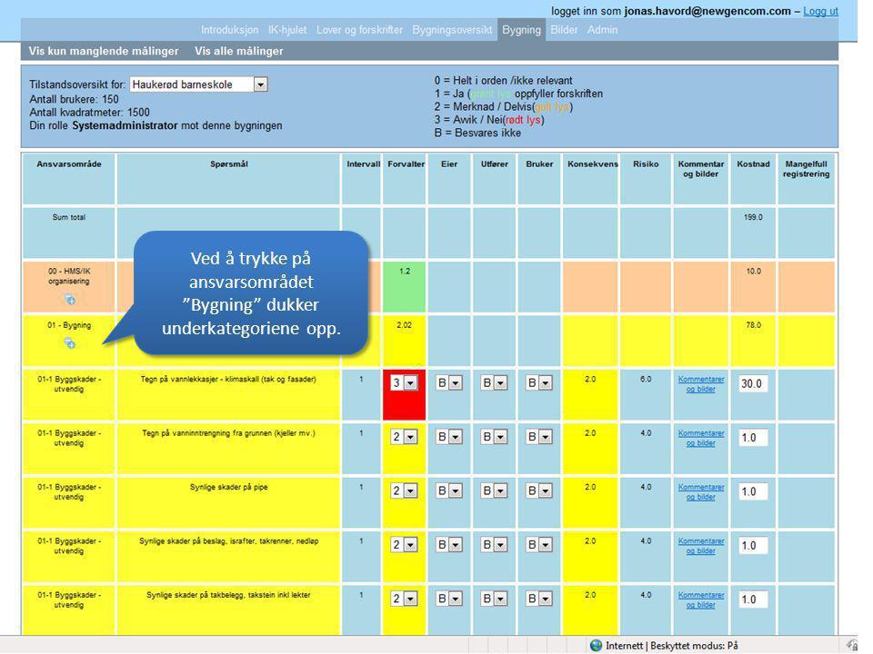 Ved å trykke på ansvarsområdet Bygning dukker underkategoriene opp.