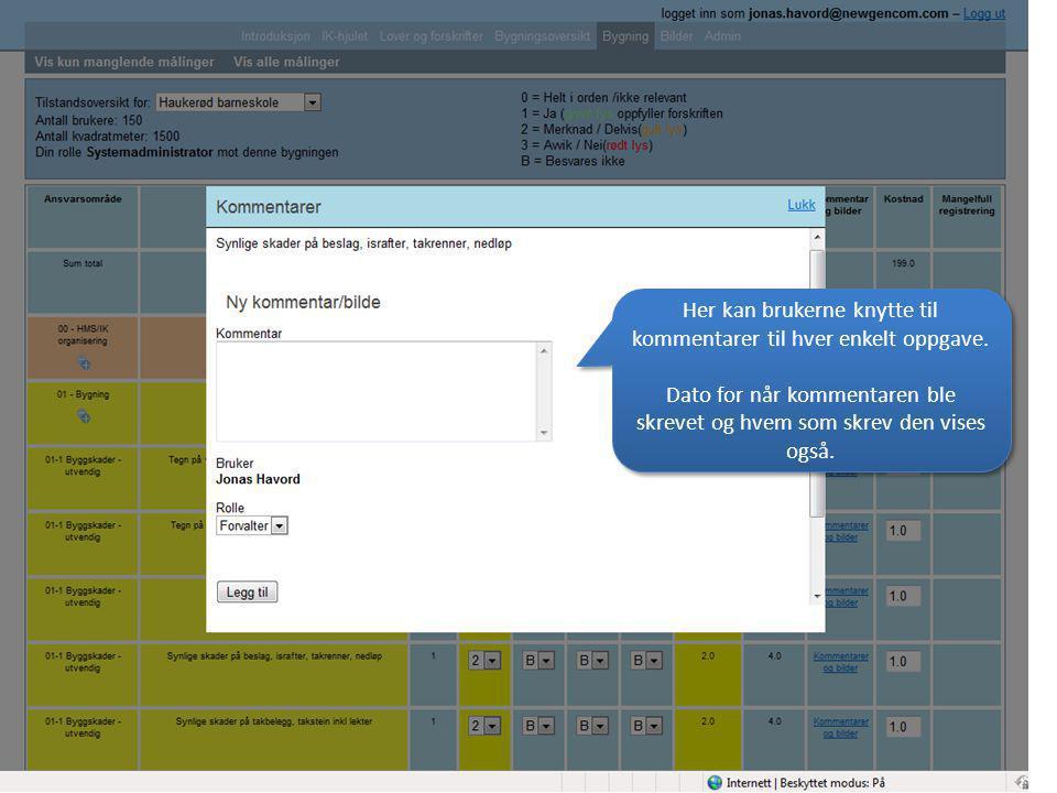 Her kan brukerne knytte til kommentarer til hver enkelt oppgave.